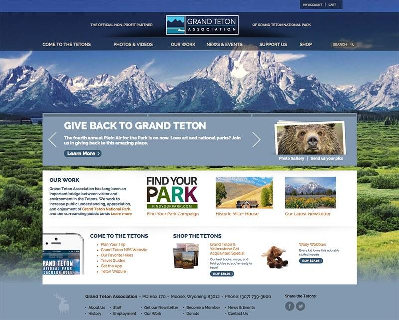 Grand Teton Association Home Page Screenshot